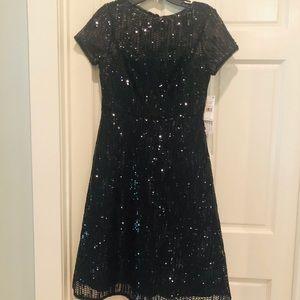 Aiidan Mattox black sequin medi dress